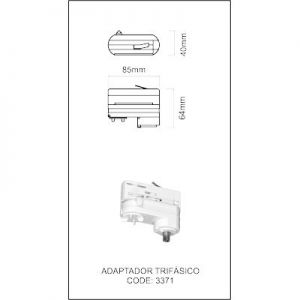 Adapter  3 Fase voor rail wit