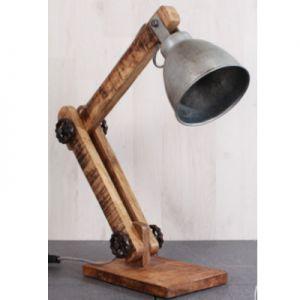 Industriële bureau lamp hout