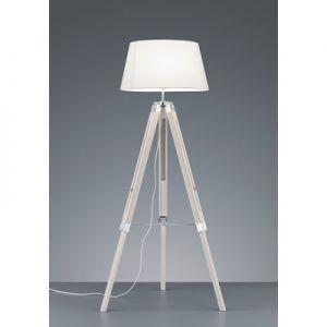 Vloerlamp tripod  + kap E27 wit