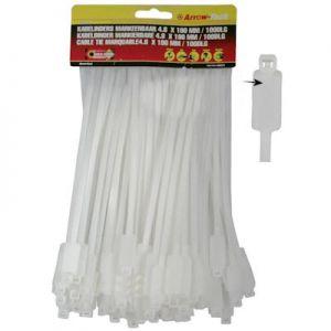 Kabelbinder tie wraps 190x4.8mm markeerbaar