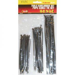 Kabelbinder tie wraps assortiment 3x25 stuks zwart