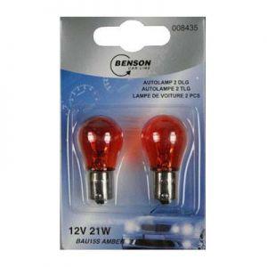 Autolamp 12V 21W Bau15s per 2 oranje knipperlicht