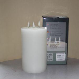 1 SimuFlame LED kaars met 3 vlammen White 15 x 25 cm