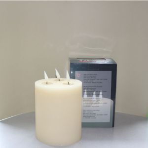 1 SimuFlame LED kaars met 3 vlammen Ivory Aged 15 x 18cm