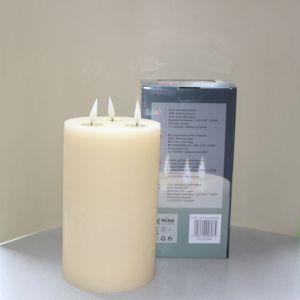 1 SimuFlame LED kaars met 3 vlammen Ivory Aged 15 x 25cm