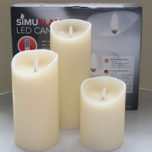 3 SimuFlame LED kaarsen Ivory Aged 9.0 x 12.5+18+23cm