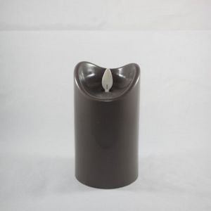 Kaars LED 2xC anthraciet 7x12.5cm