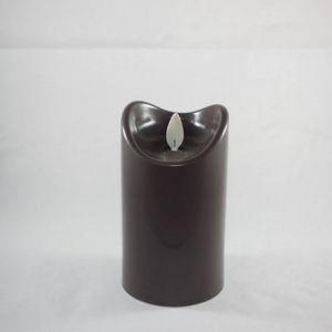 Kaars LED 2xC taupe 7x12.5cm
