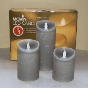 3 Kaarsen LED 3xAAA Licht Grijs  7x7.5+12.5+18cm
