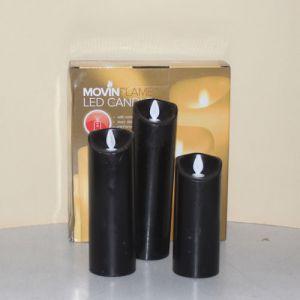 3 Kaarsen LED 3x AA Black 5x12.5+15+17.5cm